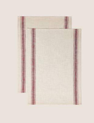 Set of 2 Pure Cotton Striped Tea Towels