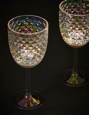 Set of 2 Textured Light Up Wine Glasses