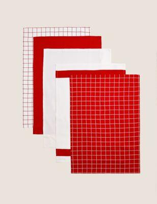 Set of 5 Printed Tea Towels