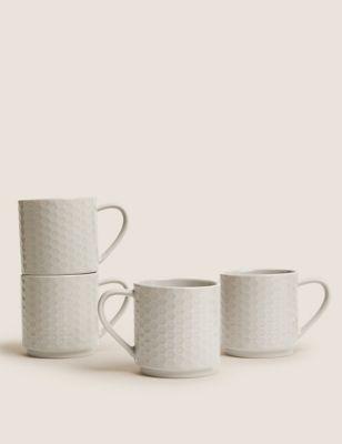 Set of 4 Stacking Embossed Mugs