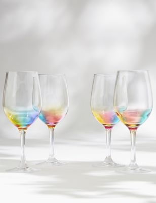 Set of 4 Rainbow Picnic Wine Glasses