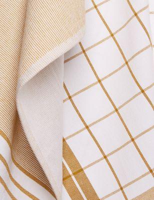 Set of 4 Antibacterial Striped Tea Towels