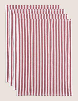 Set of 4 Striped Basket Weave Tea Towels