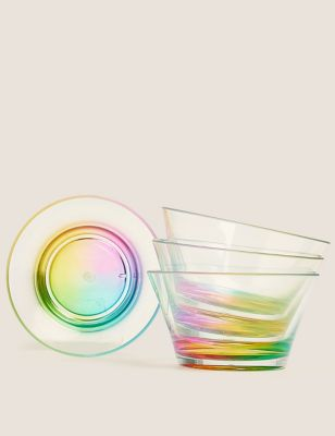 Set of 4 Rainbow Small Picnic Bowls