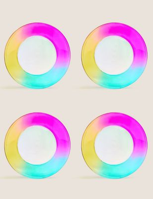 Set of 4 Rainbow Picnic Side Plates