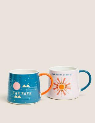 Set of 2 Slogan Mugs