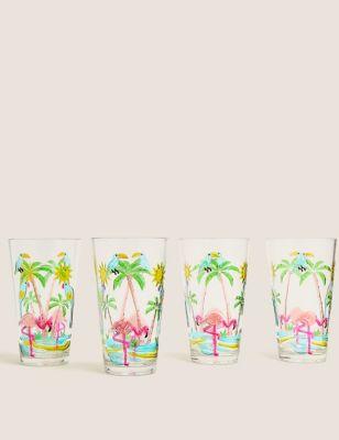 Set of 4 Flamingo Picnic Highballs