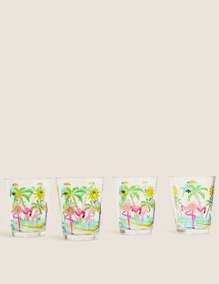 Set of 4 Flamingo Picnic Tumblers