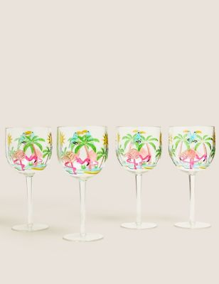 Set of 4 Flamingo Picnic Wine Glasses