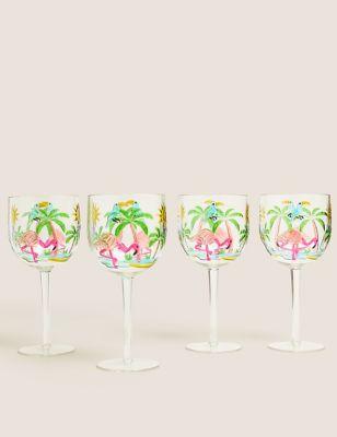 Set of 4 Flamingo Picnic Wine Glasses