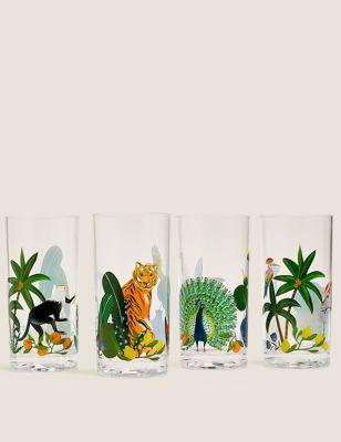 Set of 4 Jungle Picnic Highballs