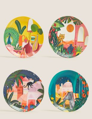 Set of 4 Tropical Jungle Picnic Side Plates