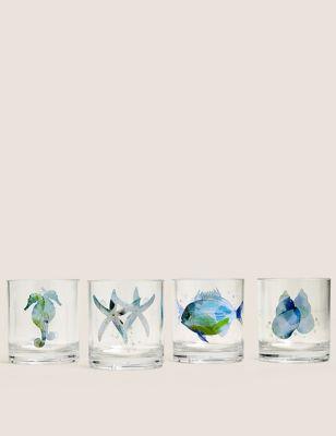 Set of 4 Nautical Picnic Tumblers