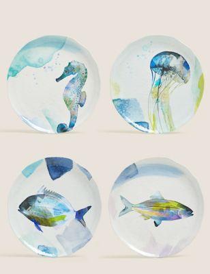 Set of 4 Nautical Dinner Plates