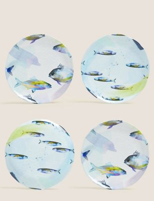 Set of 4 Nautical Side Plates