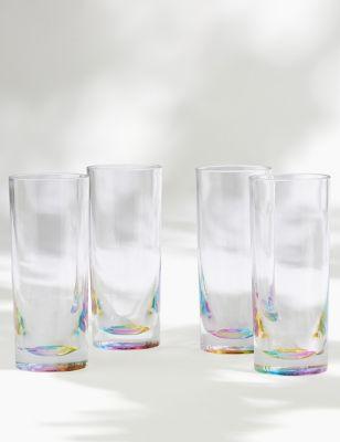 Set of 4 Rainbow Picnic Highball Glasses