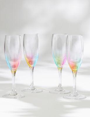 Set of 4 Rainbow Picnic Champagne Flutes