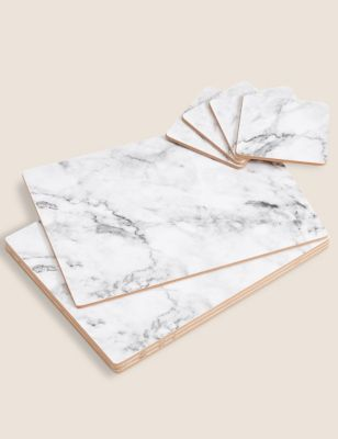 Set of 4 Marble Effect Placemats & Coasters