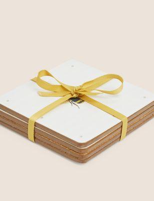 Set of 4 Bee Print Coasters