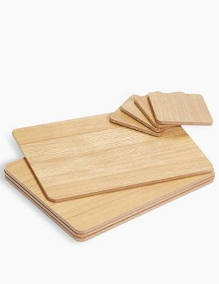 Set of 4 Wood Effect Placemats & Coasters