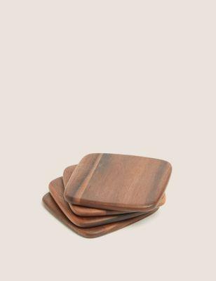 Set of 4 Acacia Wooden Coasters