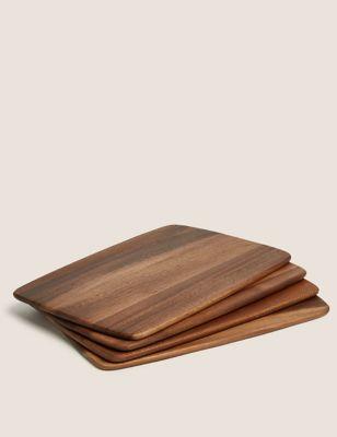 Set of 4 Acacia Wooden Placemats