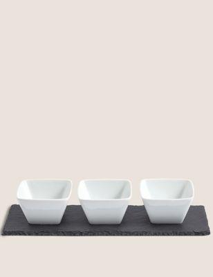 Set of 3 Tapas Bowls with Slate Platter