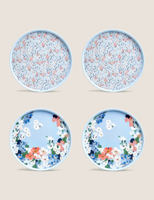 Set of 4 Joules Floral Picnic Plates