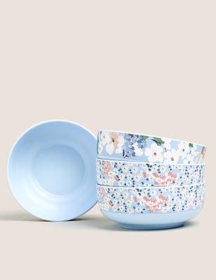 Set of 4 Joules Floral Picnic Bowls