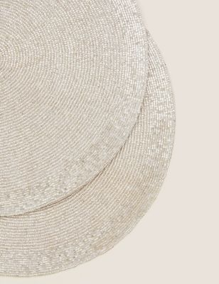 Set of 2 Beaded Placemats