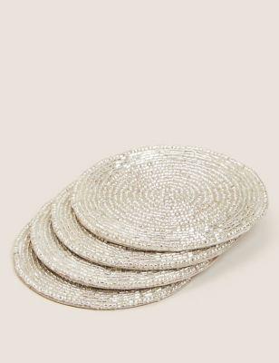 Set of 4 Beaded Coasters