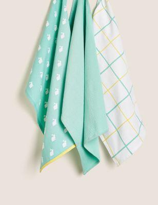 Set of 3 Pure Cotton Printed Tea Towels