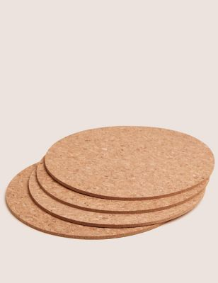 Set of 4 Round Cork Placemats