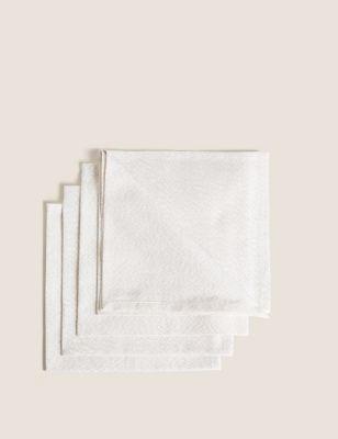 Set of 4 Cotton Metallic Napkins