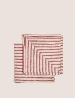 Set of 2 Pure Cotton Striped Napkins