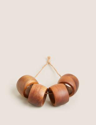 Set of 4 Wooden Napkin Rings