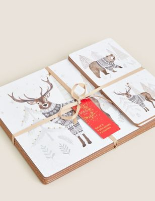 Set of 8 Woodland Placemats & Coasters