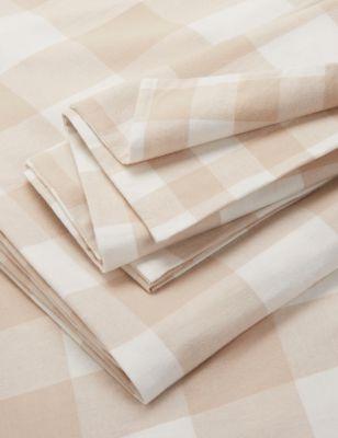 Brushed Cotton Gingham Bedding Set