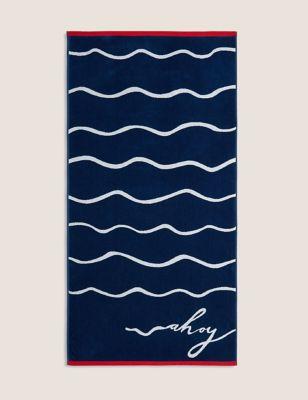 Pure Cotton Ahoy Slogan Beach Towel