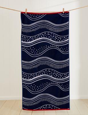 Pure Cotton Coastal Wave Beach Towel