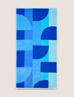 Pure Cotton Geometric Beach Towel
