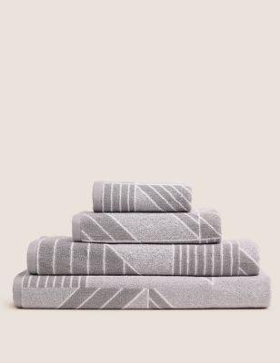 Pure Cotton Geometric Print Towel