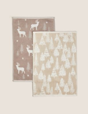 Pure Cotton Woodland and Stag Guest Towels