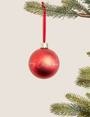 Red Light Up Merry Christmas Bauble
