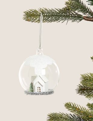 Large Glass Hanging House Scene Snow Globe
