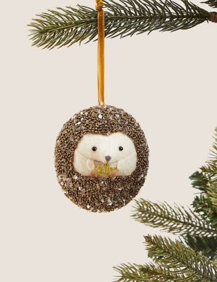 Hanging Glitter Hedgehog Tree Decoration