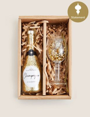 2 Pack Gold Champagne Tree Decorations