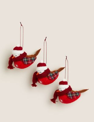 3 Pack Robin Tree Decorations