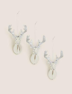 3 Pack Silver Luxury Reindeer Decorations