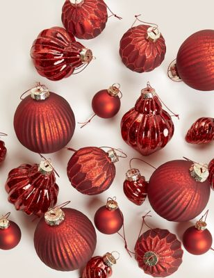 20 Pack Red Glass Baubles